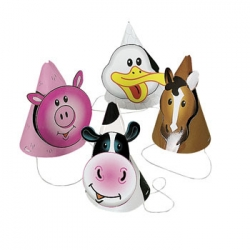 Farm Animal Party Hats (8)